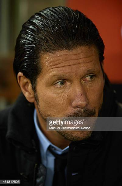 Head coach of Atletico de Madrid Diego Pablo Simeone looks on prior to the start the Copa del Rey round of 16 first leg match between Valencia CF and...