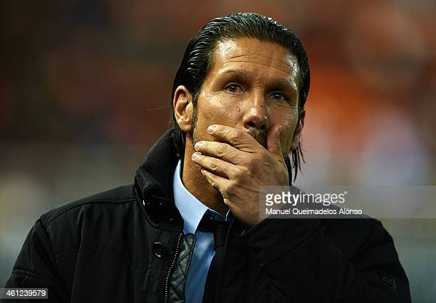 Head coach of Atletico de Madrid Diego Pablo Simeone reacts prior to the start the Copa del Rey round of 16 first leg match between Valencia CF and...