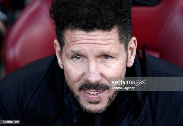 Head coach of Atletico Madrid Diego Simeone is seen during the La Liga football match between Atletico Madrid and Barcelona at Vicente Calderon...