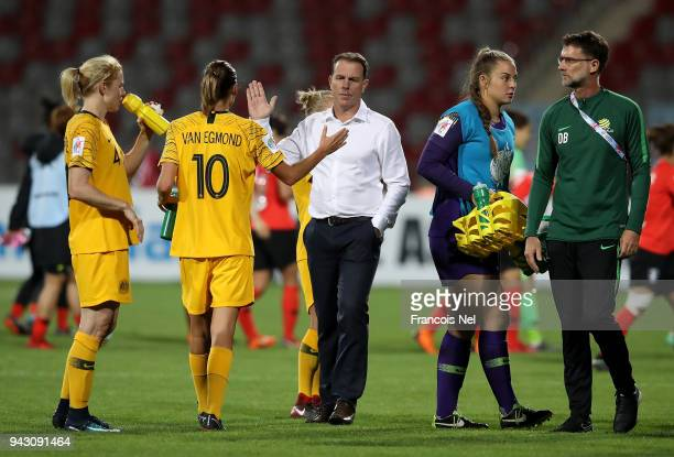 Head coach of Australia Alen Stajcic congratulates the players after the AFC Women's Asian Cup Group B match between Australia and South Korea at the...