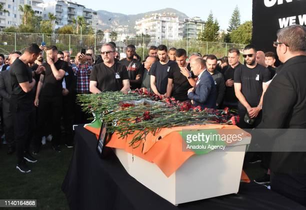 Head coach of Aytemiz Alanyaspor Sergen Yalcin attends the ceremony for Czech striker of Turkish football club Alanyaspor Josef Sural who died in a...