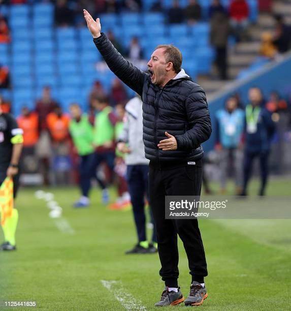 Head coach of Aytemiz Alanyaspor Sergen Yalcin gives tactics during Turkish Super Lig week 22 soccer match between Trabzonspor and Aytemiz Alanyaspor...