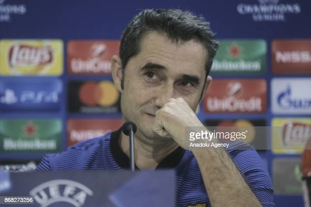 Head Coach of Barcelona Ernesto Valverdeson and his footballer Gerard Deulofeu hold a joint press conference on the eve of the UEFA Champions League...