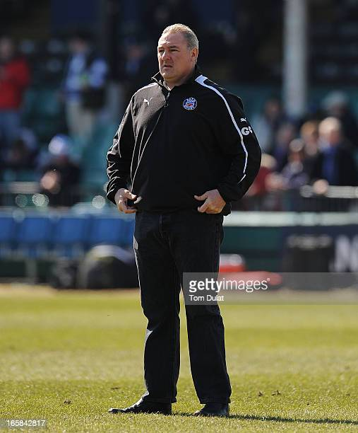 Head Coach of Bath Gary Gold looks on during the Amlin Challenge Cup Quarter Final match between Bath and Stade Francais at the Recreation Ground on...