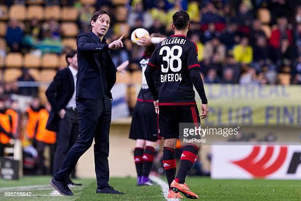 Head coach of Bayer 04 Leverkusen Roger schmidt and 38 Katim Bellarabi of Bayer 04 Leverkusen during UEFA Europa League Round of 16 first legs match...