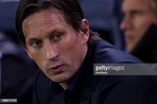 Head coach of Bayer 04 Leverkusen Roger schmidt during UEFA Europa League Round of 16 first legs match between Villarreal CF and Bayer 04 Leverkusen...