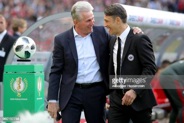 Head coach of Bayern Muenchen Josef Heynckes and head coach of Eintracht Frankfurt Niko Kovac arrive at the venue prior to the DFB Cup final between...