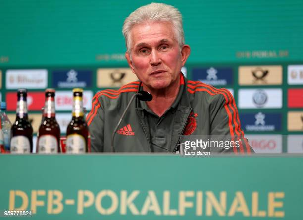 Head coach of Bayern Muenchen Josef Heynckes talks to the media during the DFB Cup Final 2018 press conference at Olympiastadion on May 18 2018 in...