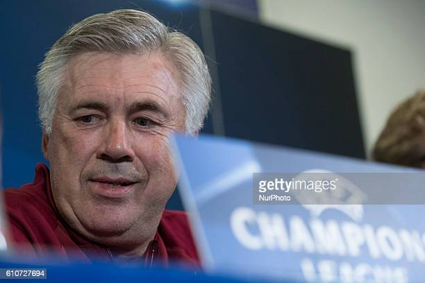 Head coach of Bayern Munich Carlo Ancelotti during a press conference ahead of UEFA Champions League football match between Atletico Madrid and...