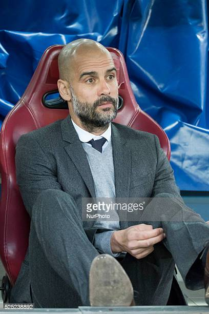 Head coach of Bayern Munich Pep Guardiola during the UEFA Champions League semi final first leg match between Club Atletico de Madrid and FC Bayern...