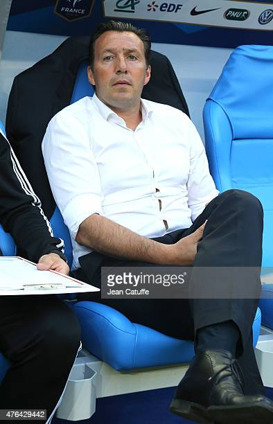 Head coach of Belgium Marc Wilmots looks on during the international friendly match between France and Belgium at Stade de France on June 7 2015 in...