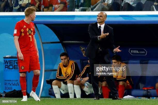 Head Coach of Belgium Roberto Martinez gives tactics to his player Kevin De Bruyne of Belgium during the 2018 FIFA World Cup Russia semi final match...