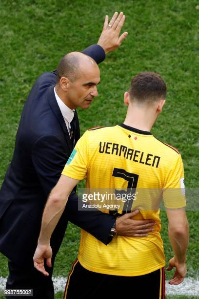 Head Coach of Belgium Roberto Martinez gives tactics to Thomas Vermaelen during the 2018 FIFA World Cup 3rd place match between Belgium and England...