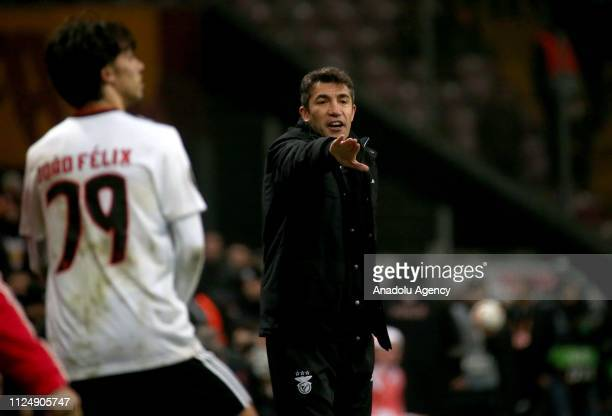 Head coach of Benfica Bruno Lage gives tactics during the UEFA Europa League Round of 32 match between Galatasaray and Benfica at the Turk Telekom...