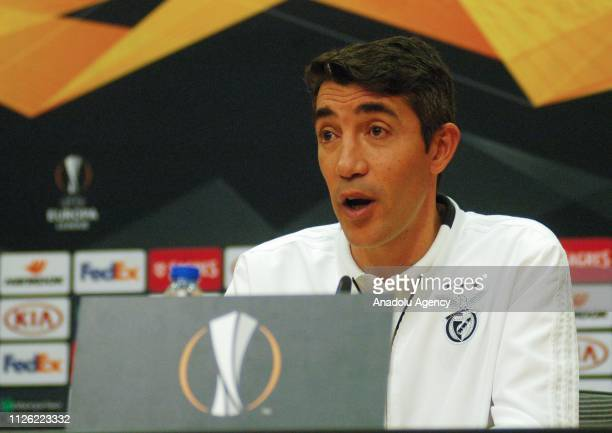 Head coach of Benfica Bruno Lage holds a press conference ahead of the UEFA Europa League Round of 32 match between Benfica and Galatasaray at Caixa...