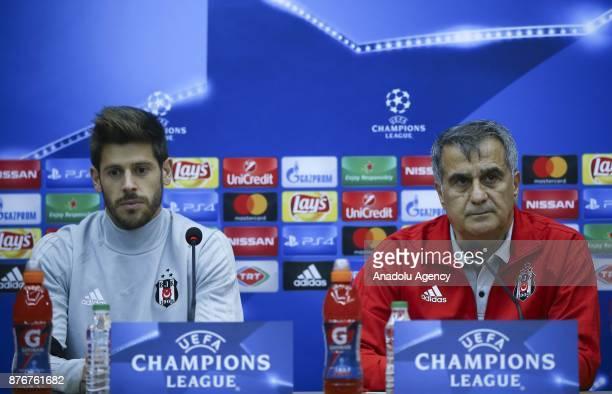 Head coach of Besiktas Senol Gunes and Besiktas' goalkeeper Fabricio answer the questions during a press conference ahead of UEFA Champions League...
