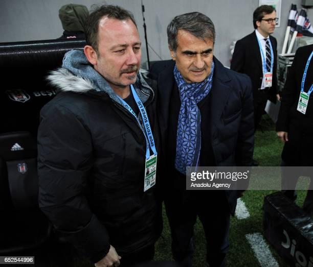 Head coach of Besiktas Senol Gunes and Head coach of Kayserispor Sergen Yalcin pose for a photo prior to the Turkish Spor Toto Super Lig football...