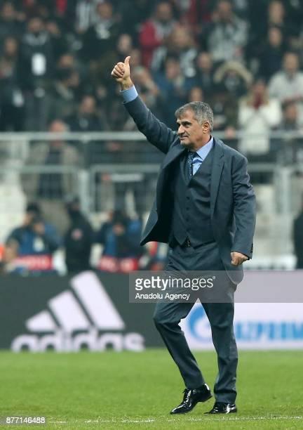 Head coach of Besiktas Senol Gunes greets Besiktas fans after the UEFA Champions League Group G soccer match between Besiktas and Porto at the...