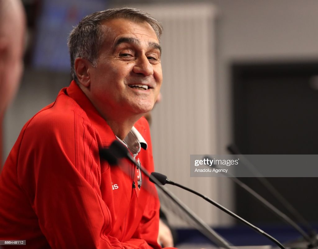 Head coach of Besiktas Senol Gunes holds a press conference ahead of the UEFA Champions League group G match between RB Leipzig and Besiktas at Red Bull Arena in Leipzig, Germany on December 5, 2017.