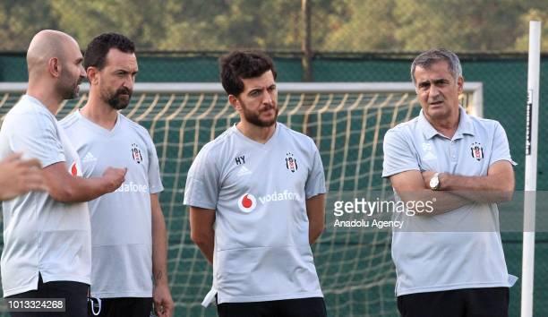 Head coach of Besiktas Senol Gunes leads a training session ahead of the UEFA Europa League 3rd Qualifying Round first leg match between Besiktas and...