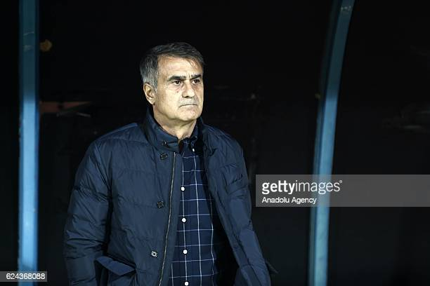 Head coach of Besiktas Senol Gunes looks on during the Turkish Spor Toto Super Lig match between Adanaspor and Besiktas at Adana 5 Ocak Fatih Terim...