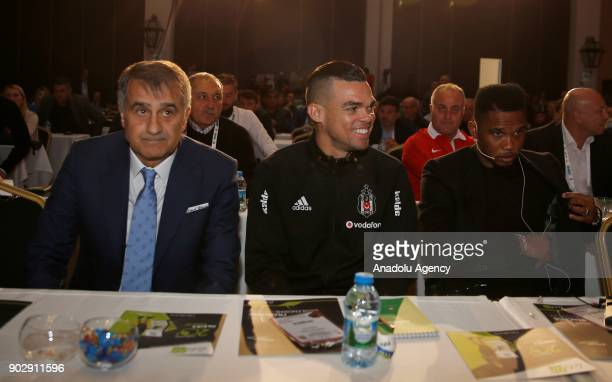 Head coach of Besiktas Senol Gunes Pepe of Besiktas and Samuel Eto'o of Antalyaspor participate in a panel titled 'Turkish and European Coach Regard...