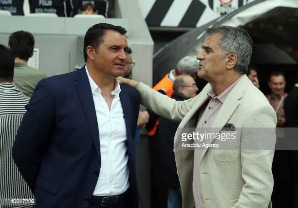 Head coach of Besiktas Senol Gunes speaks with head coach of MKE Ankaragucu Mustafa Kaplan ahead of Turkish Super Lig soccer match between Besiktas...