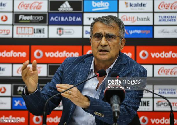 Head coach of Besiktas Senol Gunest holds a press conference at BJK Nevzat Demir Sports Facilities in Umraniye district of Istanbul Turkey on May 30...