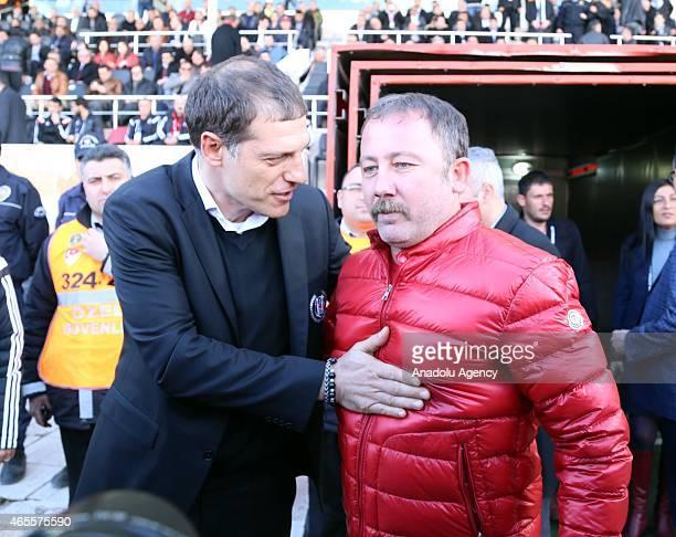 Head coach of Besiktas Slaven Bilic and head coach of Sivasspor Sergen Yalcin are seen ahead of the Turkish Spor Toto Super League soccer match...