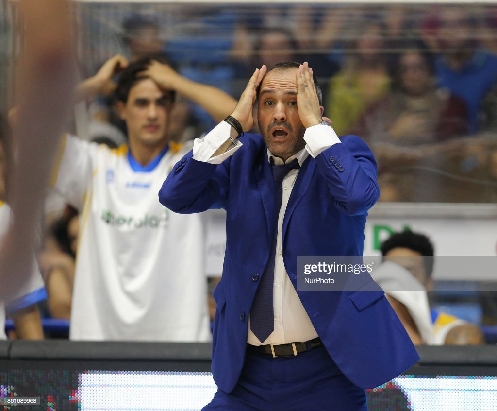 Head Coach of Betaland during the LBA Serie A Postemobile Match Between Betaland Capo D'Orlando and EA7 Armani Milano on October 15, 2017 at Palasikeliarchivi in Capo D'orlando, Italy.