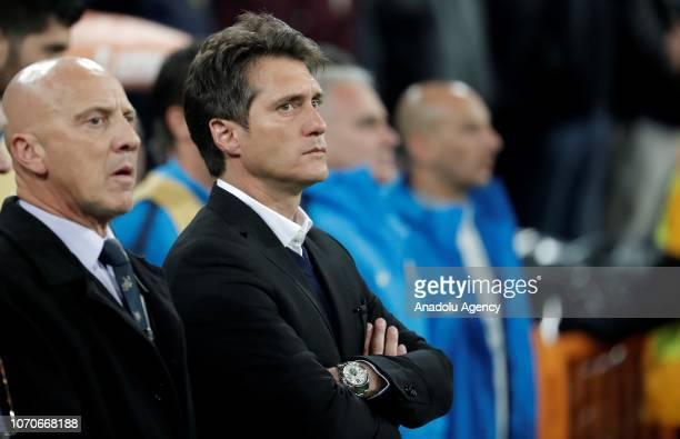 Head Coach of Boca Juniors Guillermo Barros Schelotto is seen during the second leg of the final match of Copa Libertadores soccer match between...