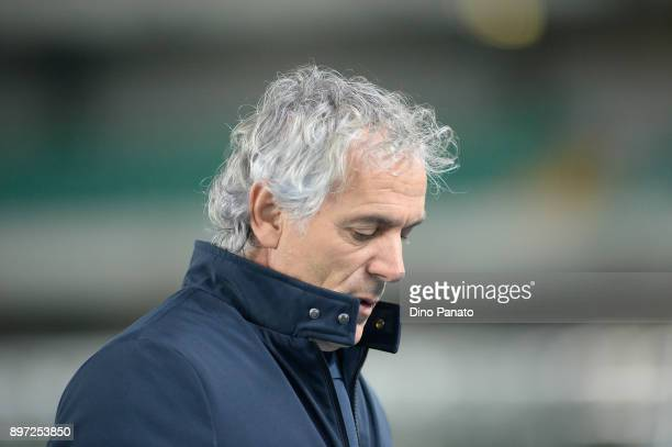 Head coach of Bologna FC Roberto Donadoni looks on during the serie A match between AC Chievo Verona and Bologna FC at Stadio Marc'Antonio Bentegodi...