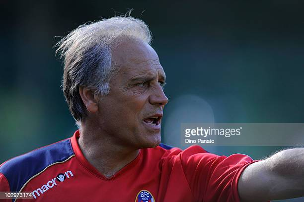 Head coach of Bologna Franco Colomba looks on during the pre season friendly match between Bologna and Rotaliana on July 18 2010 in Andalo near...