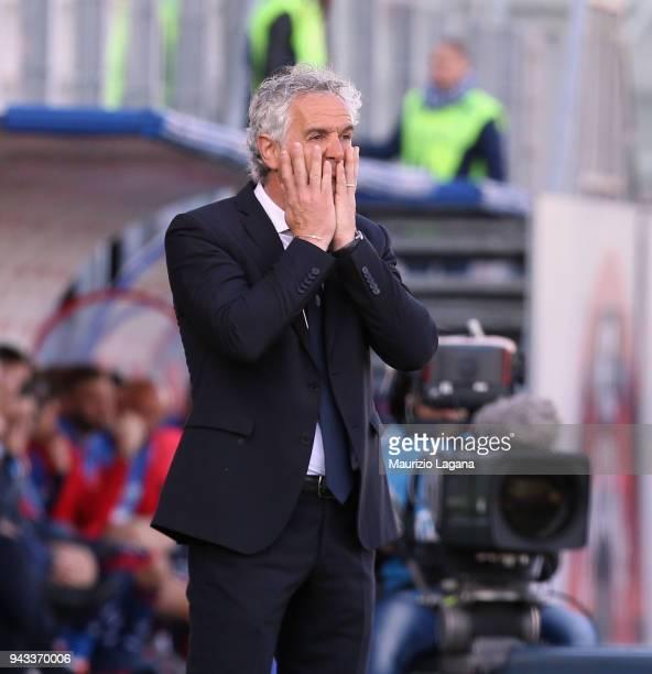 Head coach of Bologna Roberto Donadoni shows his frustration during the serie A match between FC Crotone and Bologna FC at Stadio Comunale Ezio Scida...
