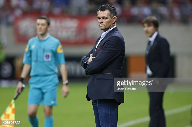 Head coach of Bordeaux Willy Sagnol looks on during the French Ligue 1 match between Stade de Reims and FC Girondins de Bordeaux at the Stade Auguste...