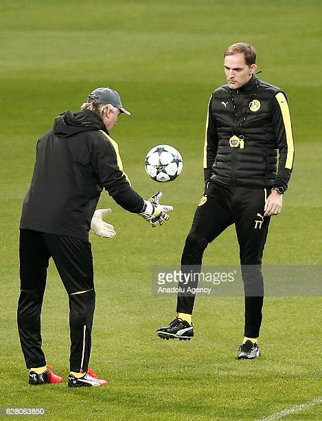 Head Coach of Borussia Dortmund Thomas Tuchel leads a training session ahead of the UEFA Champions League group F soccer match between Real Madrid...