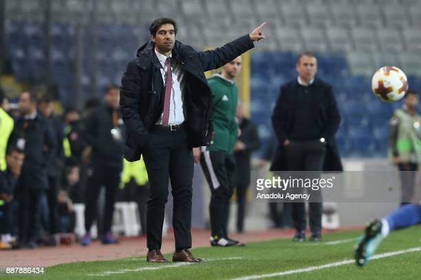 Head coach of Braga Abel Ferreira gestures during UEFA Europa League Group C soccer match between Medipol Basaksehir and Braga at the Fatih Terim...