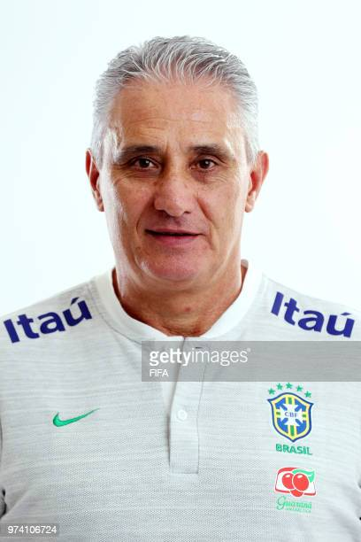 Head Coach of Brazil Adenor Leonardo Bacchi aka Tite poses during the official FIFA World Cup 2018 portrait session at on June 12 2018 in Sochi Russia