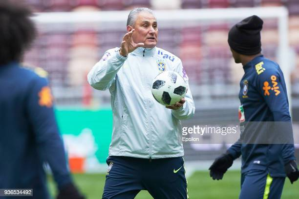 Head coach of Brazil Tite attends a training session ahead of a friendly match between Russia and Brazil at Luzhniki Stadium on March 22 2018 in...