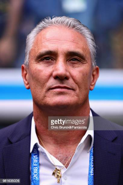 Head Coach of Brazil Tite looks on before the 2018 FIFA World Cup Russia group E match between Brazil and Costa Rica at Saint Petersburg Stadium on...