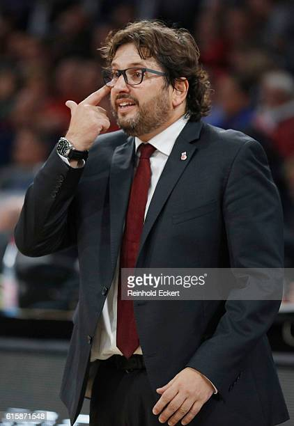 Head Coach of Brose Bamberg Andrea Trincheri gestures during the 2016/2017 Turkish Airlines EuroLeague Regular Season Round 2 game between Brose...