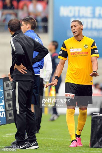 Head Coach of BSC Young Boys Harald Gamperle and Guillaume Hoarau during his replacement during the Raiffeisen Super League match between FC Sion and...