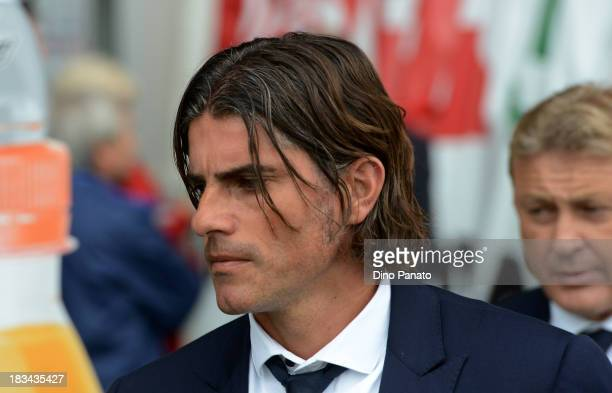 Head coach of Cagliari Diego Lopez looks on during the Serie A match between Udinese Calcio and Cagliari Calcio at Stadio Friuli on October 6 2013 in...