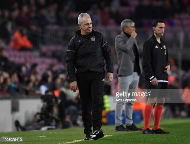 Head Coach of CD Leganes Javier Aguirre looks on from the side line during the Copa del Rey Round of 16 match between FC Barcelona and CD Leganes at...