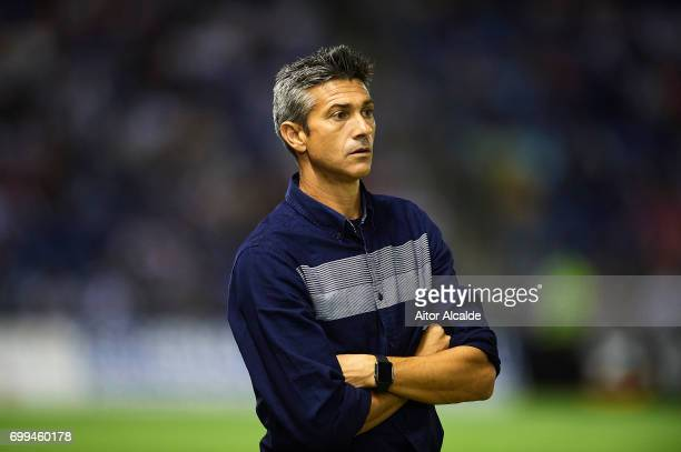 Head Coach of CD Tenerife Jose Luis Marti looks on during La Liga 2 play off round between CD Tenerife and Getafe CF at Heliodoro Rodriguez Lopez...
