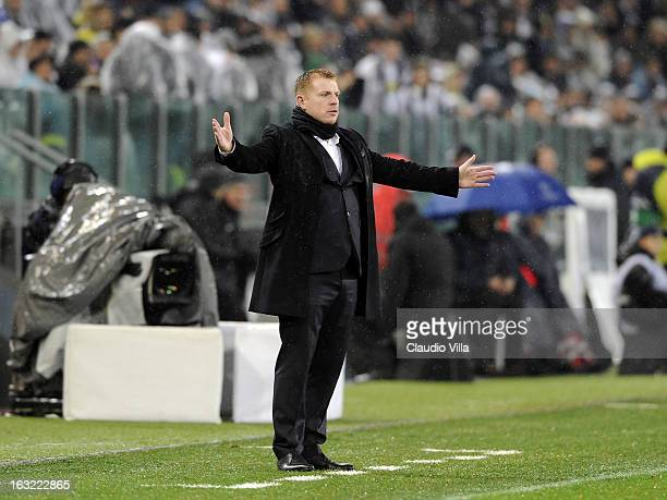 Head coach of Celtic Neil Lennon looks dejected during the Champions League round of 16 second leg match between Juventus and Celtic at Juventus...