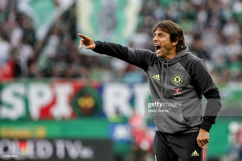Head coach of Chelsea Antonio Conte gestures during an friendly match between SK Rapid Vienna and Chelsea F.C. at Allianz Stadion on July 16, 2016 in Vienna, Austria.