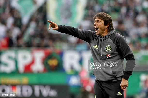 Head coach of Chelsea Antonio Conte gestures during an friendly match between SK Rapid Vienna and Chelsea FC at Allianz Stadion on July 16 2016 in...
