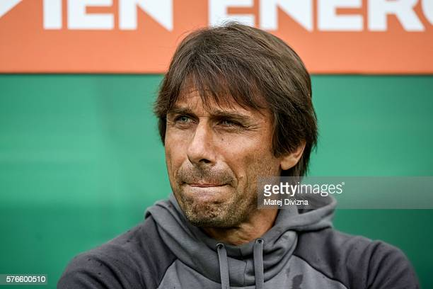 Head coach of Chelsea Antonio Conte is seen on the bench during an friendly match between SK Rapid Vienna and Chelsea FC at Allianz Stadion on July...
