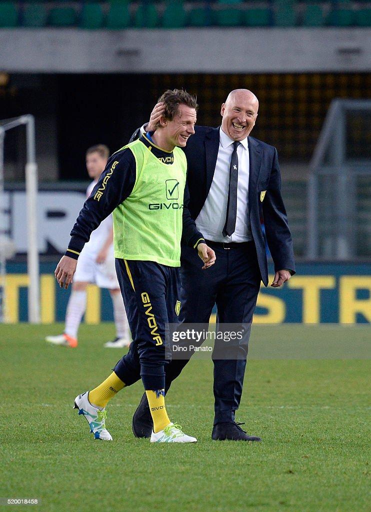 Head coach of Chievo Verona Rolando Maran (R) celebrates victory during the Serie A match between AC Chievo Verona and Carpi FC at Stadio Marc'Antonio Bentegodi on April 9, 2016 in Verona, Italy.
